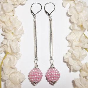 Long Silver & Pink Pearl Earrings Beaded NWT 4882